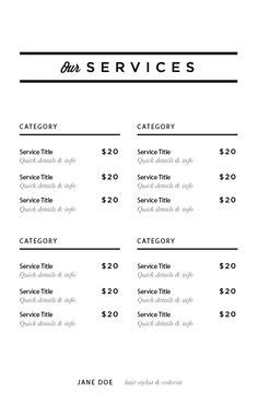 salon service menu template 1000 images about image studios inspiration on