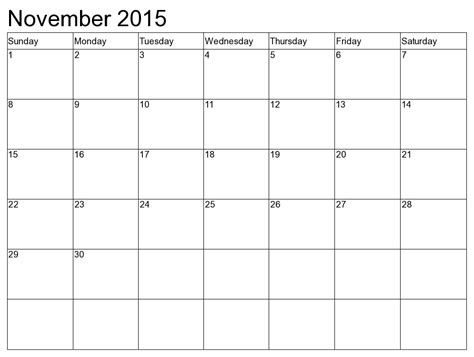 Calendar November 2015 November 2015 Monthly Holidays Events In United States