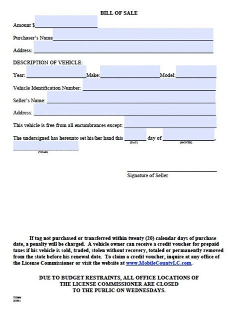 bill of sale for a vessel north carolina free download
