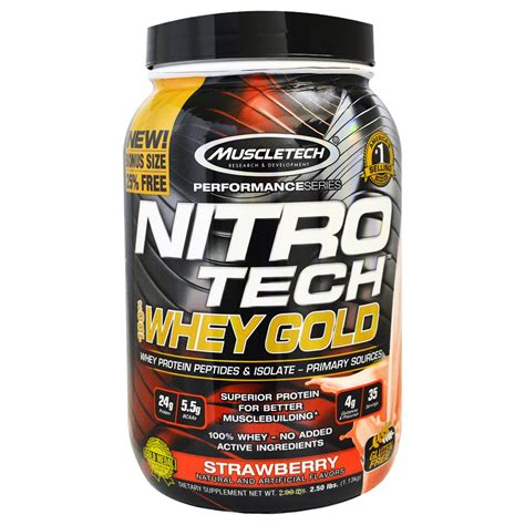 Whey Protein Nitro Tech muscletech nitro tech 100 whey gold strawberry 2 20 lbs 999 g iherb