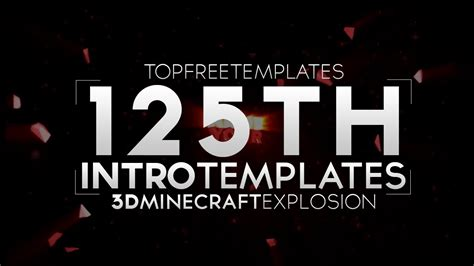 Free Intro Template 3d Minecraft Explosion 125 W Tutorial Youtube Top Free Templates
