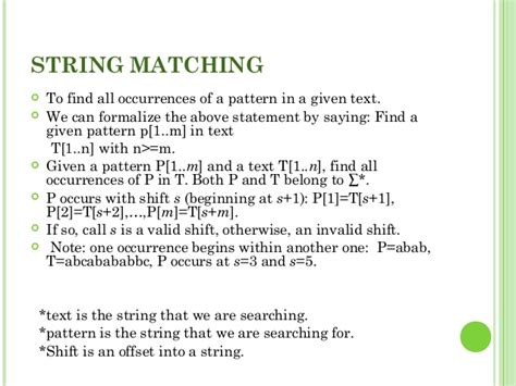 string and pattern matching algorithm ppt string matching algorithm