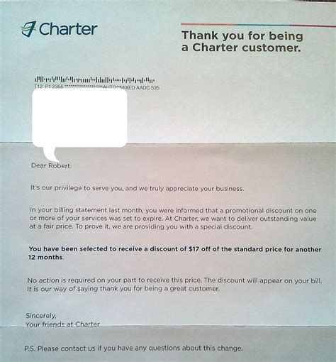 Customer Loyalty Letter Charter Communications Loyalty Discount Letter The Merchant Stand