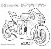 Ausmalbild Honda RC212V Strassenrennen Motorad
