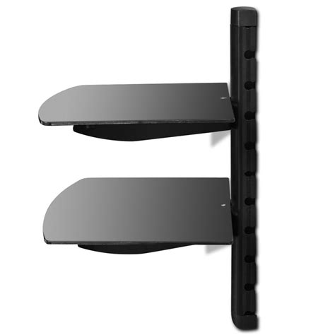 estante de parede estante de parede de vidro para dvd 2 prateleiras preto