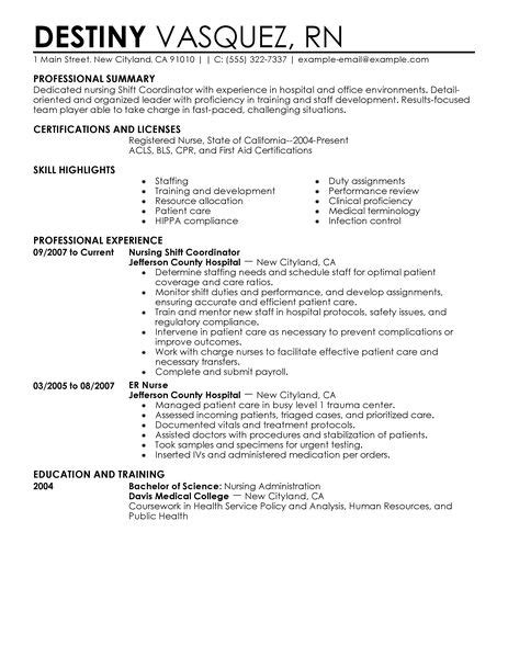 shift coordinator resume exles healthcare resume