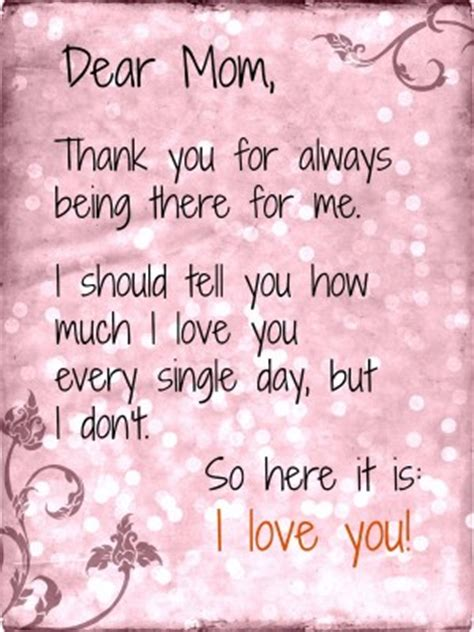 Thank You Letter Your Mom thank you mother quotes quotesgram