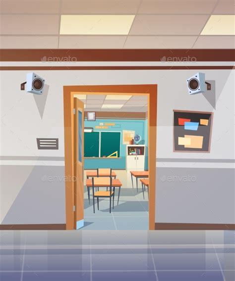 empty school corridor with open door to classroom by