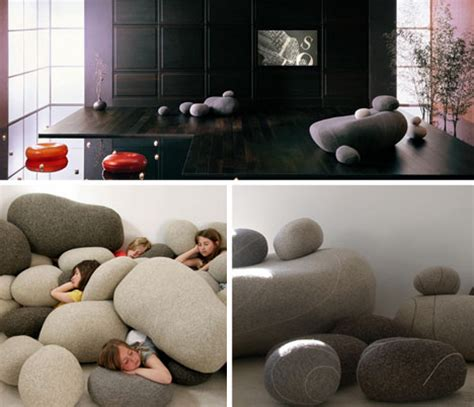 Rock Furniture by Living Stones Rock Shaped Cushions Come In All Sizes