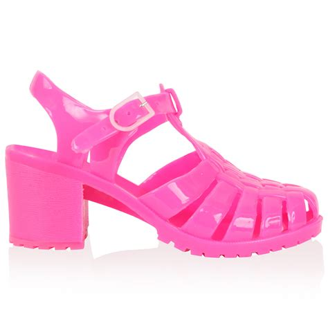 womens new pink low heel summer cut out sandals