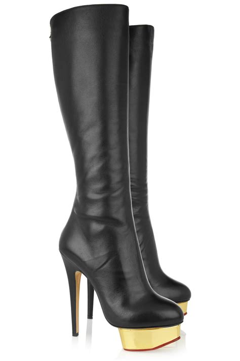 high heel leather boot designer gold platform high heel leather boots