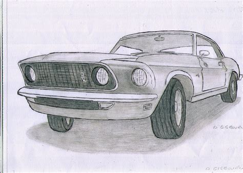 Mustang Auto Zeichnen by Ink And Pencil Drawing Of A 1965 Ford Mustang Classic