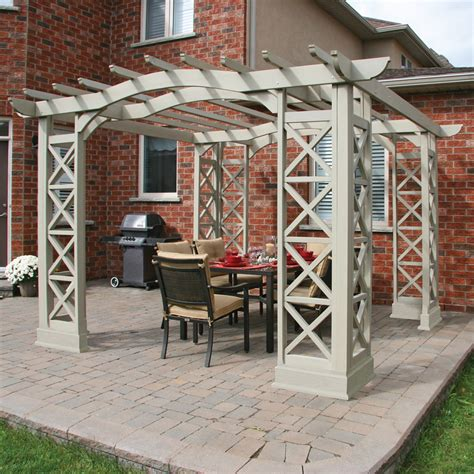 yardistry ym116 12 ft x 12 ft arched roof pergola lowe s