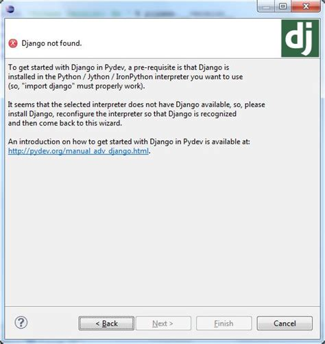 django tutorial page not found django not found in eclipse ide on windows