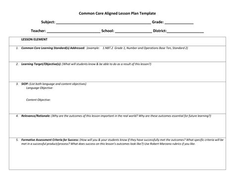 marzano lesson plan template best templates
