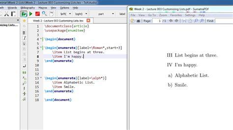 tutorial latex texstudio week 2 latex tutorial lecture 002 custom bullets and