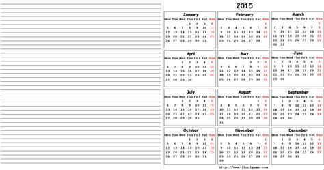 Calendar Notes 2015 Calendar Printable Calendar 2015 Calendar In