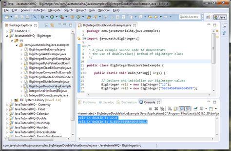 java tutorial really big index java biginteger doublevalue method exle