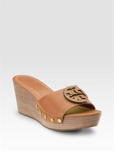 torey burch sandals burch patti wedge sandals in brown royal lyst