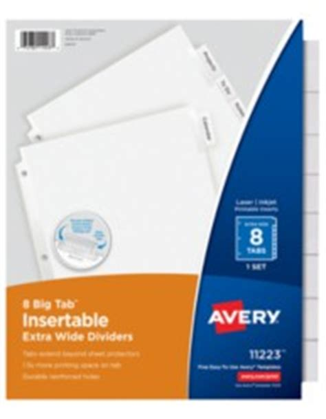 avery big tab 5 tab template avery big tab insertable wide dividers