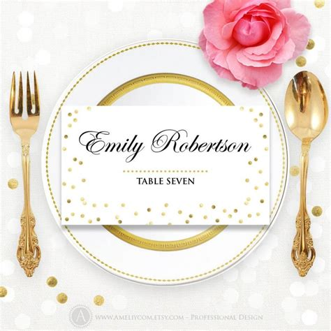 wedding name plate template glam gold place card wedding instant diy