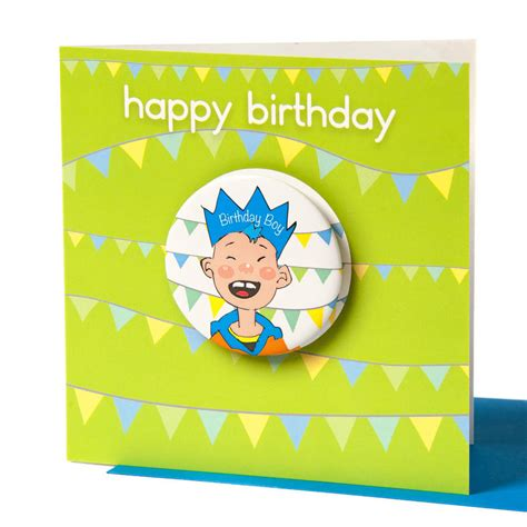 Birthday Card With Badge Birthday Boy Badge Card By Diana Fegredo Studio