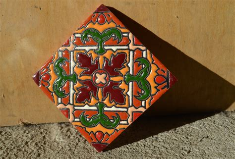 Handmade Mexican Tiles - 6 mexican talavera tiles handmade painted 4 quot x 4