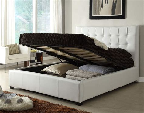 White Leather Platform Bed With Storage Stylish Leather Elite Platform Bed With Storage