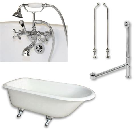 cast iron rolled clawfoot tub 61 quot telephone faucet