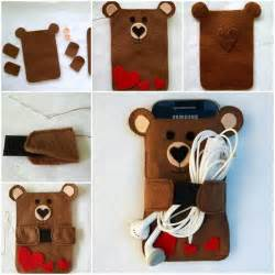 creative ideas diy cute felt bear cell phone case