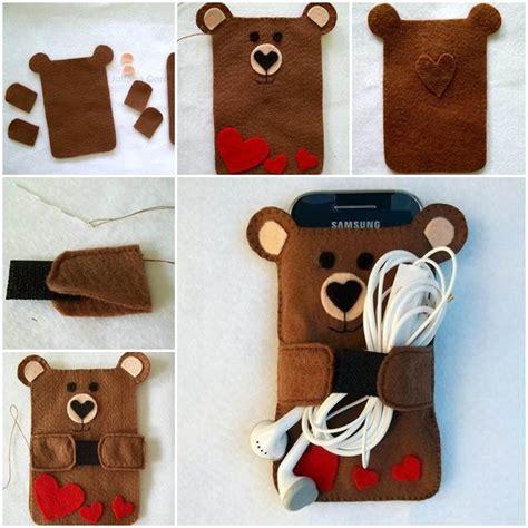 creative ideas diy cute felt bear cell phone case