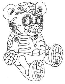 skull color free coloring pages of sugar skull teddy