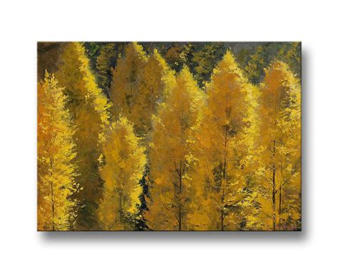 autumn painting commissioned yellow fall poplar trees impressionism deco