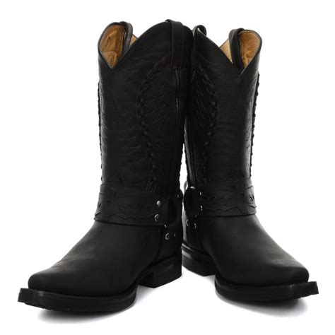 grinders galveston s cowboy boot black