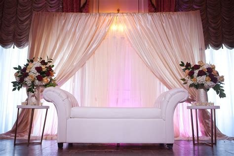 Taj Boston Muslim Wedding Reception Backdrop, Ivory