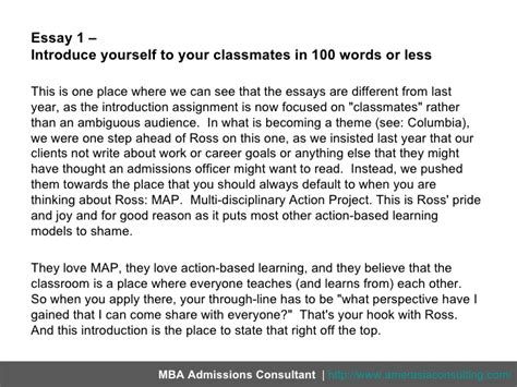 Ross Mba Essay Exles by Introduce Yourself Essay 100 Words Introduce Yourself
