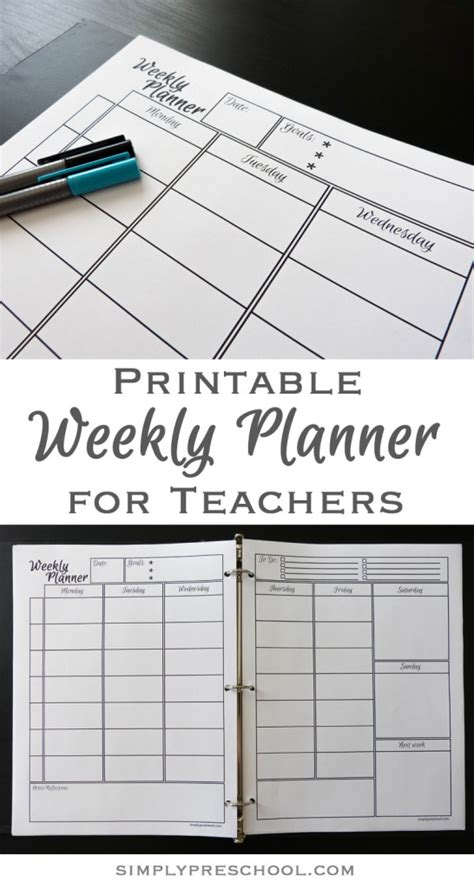 printable lesson planner for teachers printable weekly lesson planner simply preschool