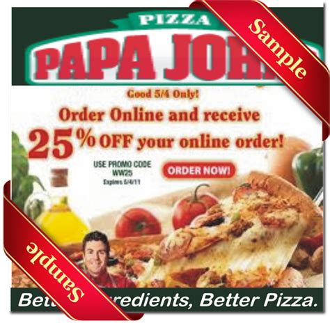 papa john s discount vouchers papa johns promo codes 2016
