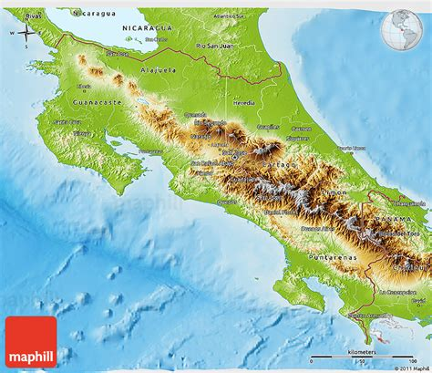 costa rica population map physical 3d map of costa rica