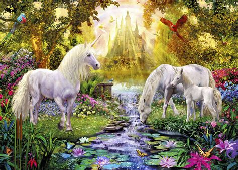 The Unicorn In The Garden by The Castle Unicorn Garden Wall Mural Photo Wallpaper