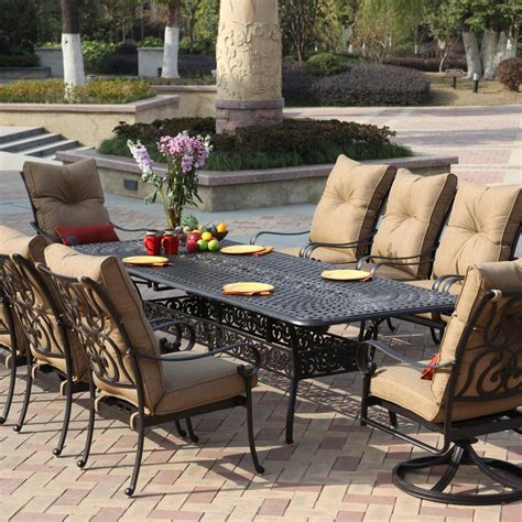Patio Furniture Dining Darlee Santa 11 Cast Aluminum Patio Dining Set With Extension Table Ultimate Patio