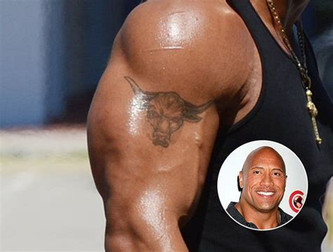 dwayne the rock johnson tattoo dwayne quot the rock quot johnson bears a taurus on his
