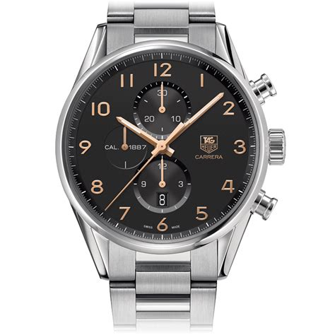 Tag Heuer Grand Calibre 8 Leather Black Gold calibre 1887automatic chronograph43 mm black steel bracelet tag heuer