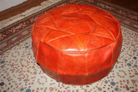 Large Handmade Leather Pouf Ottoman Seat Orange Orange Pouf Ottoman