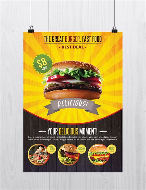 Fast Food Free Psd Flyer Template On Behance Food Flyers Templates