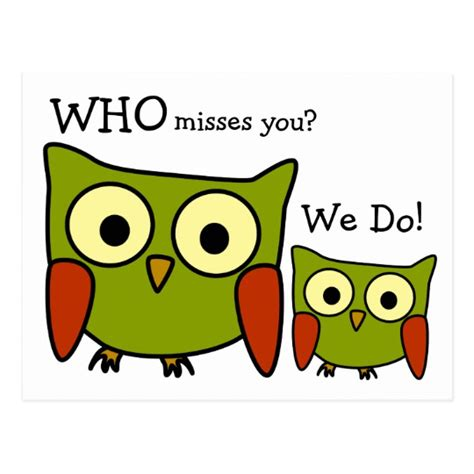you 3 miss you 8408149997 retro 1960 s owl miss you postcard zazzle com
