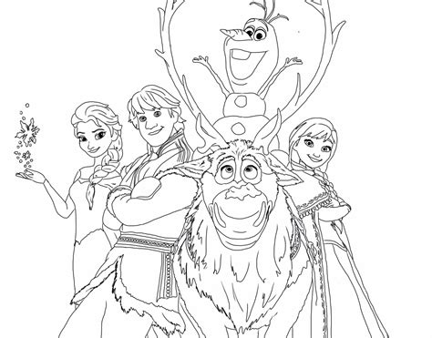 Frozen Happy Family Free Coloring Page ? Disney, Frozen