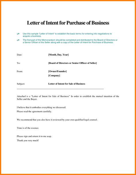 Letter Of Intent To Purchase Small Business sle letter of intent to purchase business hire lease