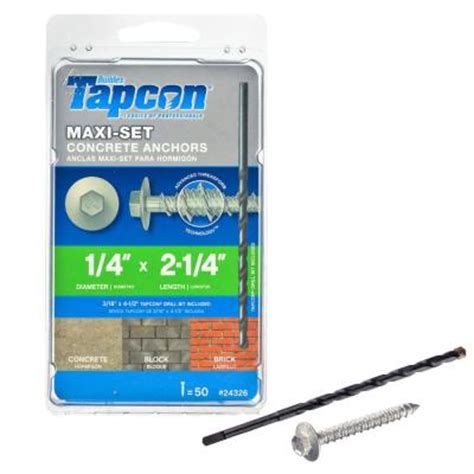 tapcon 1 4 in x 2 1 4 in maxiset climaseal hex