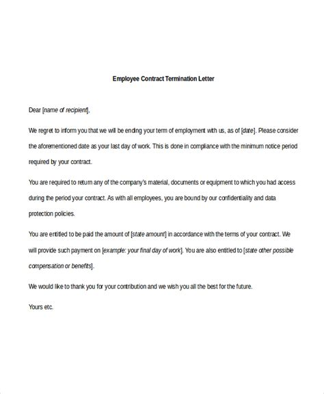 Letter Of Employee Contract Termination sle employee termination letter 8 free documents in pdf